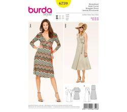 Střih Burda 6759 - Zavinovací šaty, žerzejové šaty, midi šaty