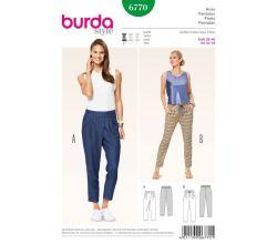 Střih Burda 6770 - Pohodlné kalhoty do gumy, letní kalhoty