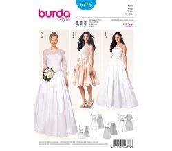 Střih Burda 6776 - Korzetové svatební šaty se spodničkou, plesové šaty