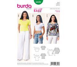 Střih Burda 6820 - Jednoduché tričko, krátké tričko, tričko s dlouhým rukávem