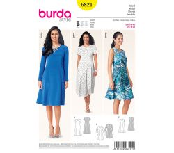 Střih Burda 6821 - Áčkové šaty, midi šaty, letní šaty