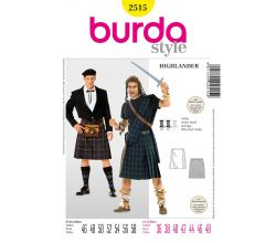 Střih Burda 2515 - Kilt, Highlander, Skot, William Wallace