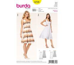 Střih Burda 6758 - Princess šaty na ramínka, retro šaty