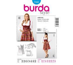 Střih Burda 7443 - Krojové šaty, krojová zástěrka, krojová halenka