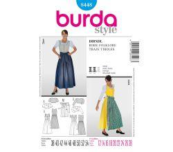Střih Burda 8448 - Krojové šaty, krojová zástěrka, krojová halenka