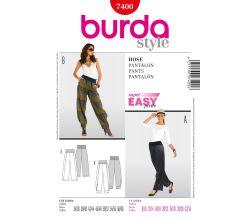 Střih Burda 7400 - Volnočasové kalhoty, kalhoty s nápletem