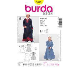 Střih Burda 9473 - Dětské středověké šaty, čepec