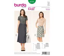 Střih Burda 6733 - Jednoduchá zavinovací sukně