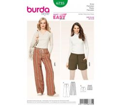 Střih Burda 6735 - Široké kalhoty, šortky