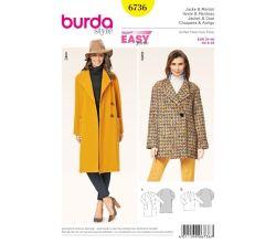 Střih Burda 6736 - Jednoduchý kabát, krátký kabát