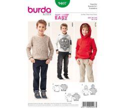 Střih Burda 9407 - Jednoduchá dětská mikina, svetr