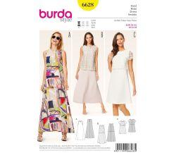 Střih Burda 6628 - Dlouhé letní šaty, áčkové šaty, šaty s topem