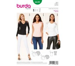 Střih Burda 6630 - Tričko, tričko s dlouhým rukávem