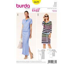 Střih Burda 6639 - Tričkové šaty, šaty s vodou