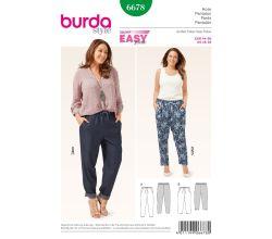 Střih Burda 6678 - Kalhoty s pasem do gumy pro plnoštíhlé