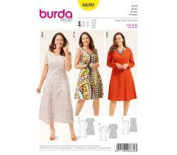 Střih Burda 6680 - Áčkové šaty pro plnoštíhlé
