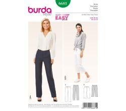 Střih Burda 6681 - Jednoduché rovné kalhoty, tříčtvrteční kalhoty