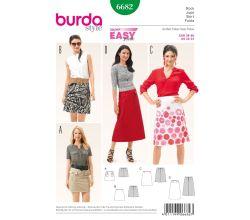 Střih Burda 6682 - Jednoduchá áčková sukně, mini sukně, dlouhá sukně
