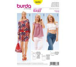 Střih Burda 6684 - Jednoduché letní šaty, halenka Carmen