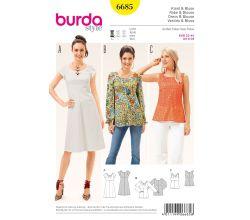 Střih Burda 6685 - Empírové šaty, halenka
