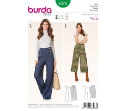 Střih Burda 6573 - Široké kalhoty, kalhoty s vysokým pasem