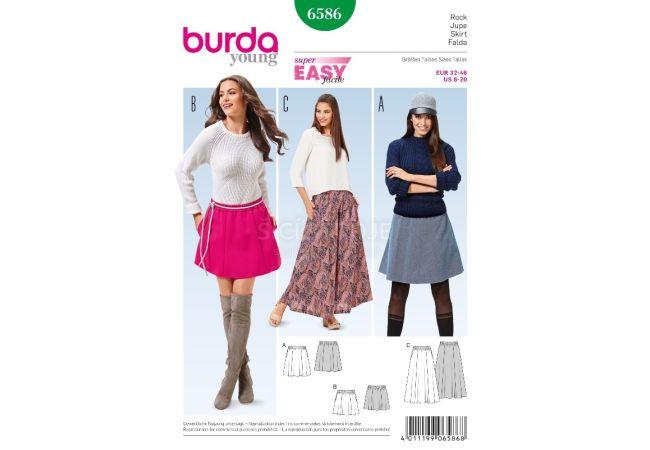 Střih Burda 6586 - Jednoduchá sukně, áčková sukně, mini sukně, dlouhá sukně