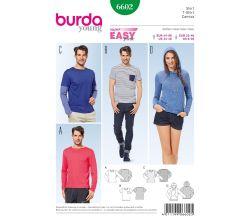 Střih Burda 6602 - Jednoduché tričko, tričko s kapucí, tričko s dlouhým rukávem, pánské tričko