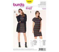 Střih Burda 6608 - Tričkové šaty, jednoduchý kabátek