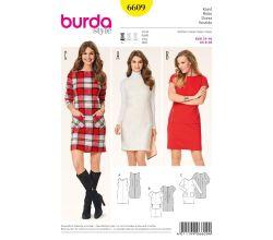 Střih Burda 6609 - Pouzdrové šaty, šaty s kapsami