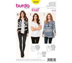 Střih Burda 6610 - Jednoduché tričko, tunika, blejzr