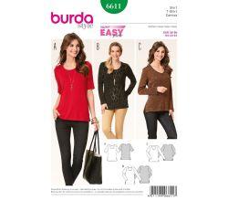 Střih Burda 6611 - Jednoduché tričko, delší tričko