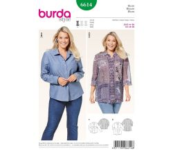 Střih Burda 6614 - Košile pro plnoštíhlé