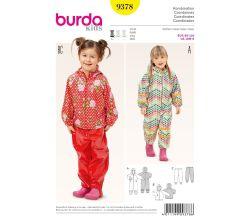 Střih Burda 9378 - Dětská kombinéza, bunda s kapucí, oteplováky