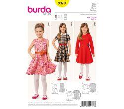 Střih Burda 9379 - Dětské šaty s kolovou sukní