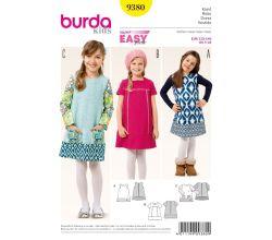 Střih Burda 9380 - Dětské áčkové šaty