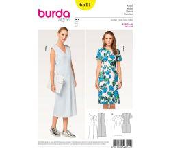 Střih Burda 6511 - Áčkové šaty, midi šaty