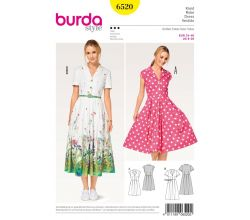 Střih Burda 6520 - Košilové šaty, letní šaty, retro šaty