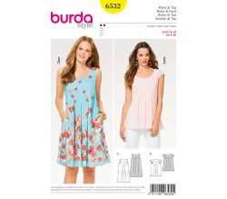 Střih Burda 6532 - Halenka, letní šaty, balonové šaty