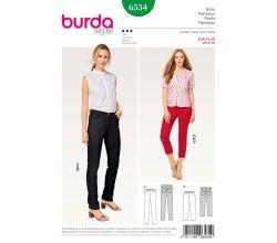 Střih Burda 6534 - Džíny, džínové kalhoty, tříčtvrteční kalhoty