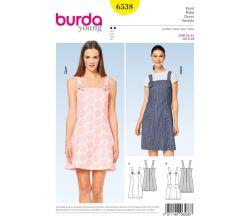 Střih Burda 6538 - Šaty na ramínka, laclové šaty, mini šaty