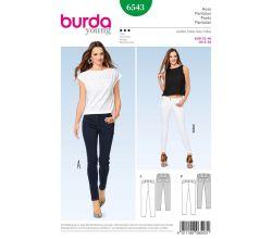Střih Burda 6543 - Džíny, džínové kalhoty s vyšším pasem