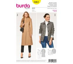 Střih Burda 6461 - Dlouhý kabát se stojáčkem, krátký kabát, sako