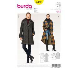Střih Burda 6462 - Áčkový kabát, dlouhý kabát