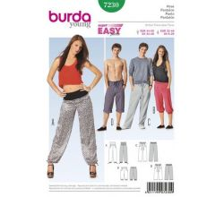 Střih Burda 7230 - Jednoduché dámské a pánské teplákové kalhoty, tepláky