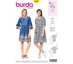 Střih Burda 6401 - Letní šaty, pohodlné šaty, flanelové šaty