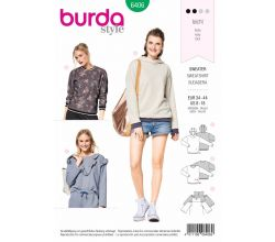 Střih Burda 6406 - Mikina, mikina s kapucí