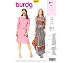 Střih Burda 6413 - Letní šaty, pohodlné šaty, šaty s pasem do gumy
