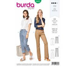 Střih Burda 6432 - Tříčtvrteční kalhoty, rovné kalhoty s puky