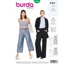 Střih Burda 6436 - Kalhoty se širokými nohavicemi, letní kalhoty, lněné kalhoty