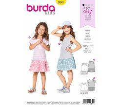 Střih Burda 9341 - Dětské tričkové šaty, tílkové šaty